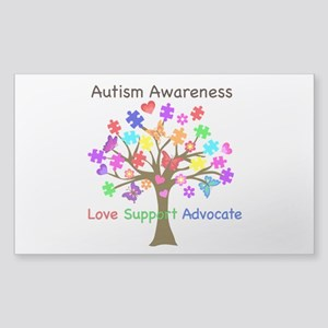 Autism Awareness Tree Sticker (Rectangle)