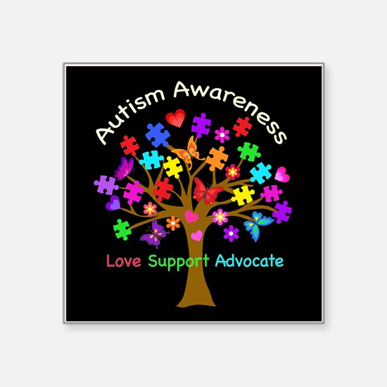 "Autism Awareness Tree Square Sticker 3"" x 3"""