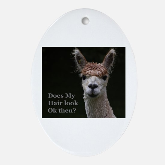 Alpaca with funny hairstyle Oval Ornament