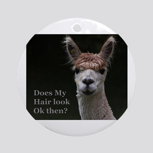 Alpaca with funny hairstyle Round Ornament