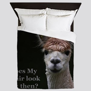 Alpaca with funny hairstyle Queen Duvet
