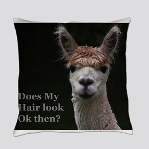 Alpaca with funny hairstyle Everyday Pillow