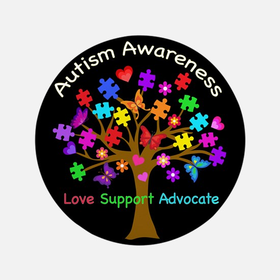 """Autism Awareness Tree 3.5"""" Button (100 pack)"""