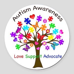 Autism Awareness Tree Round Car Magnet