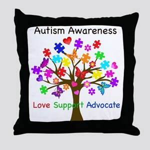 Autism Awareness Tree Throw Pillow