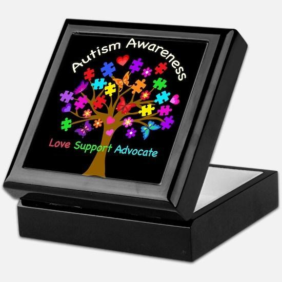 Autism Awareness Tree Keepsake Box