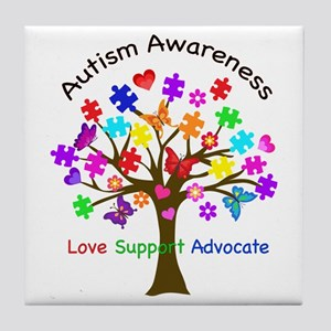 Autism Awareness Tree Tile Coaster
