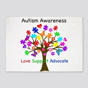 Autism Awareness Tree 5'x7'Area Rug