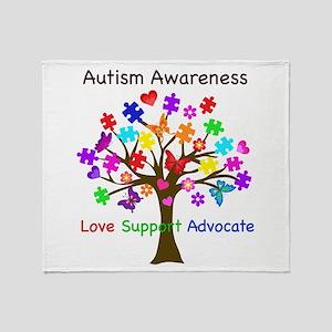 Autism Awareness Tree Throw Blanket