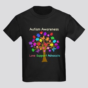 Autism Awareness Tree Kids Dark T-Shirt