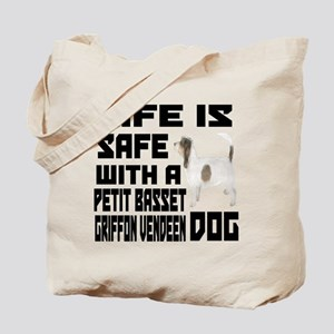 Life Is Safe With A Petit Basset Griffon Tote Bag