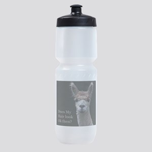 Alpaca with funny hairstyle Sports Bottle