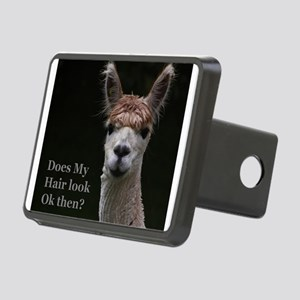 Alpaca with funny hairstyl Rectangular Hitch Cover