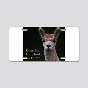 Alpaca with funny hairstyle Aluminum License Plate