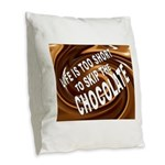 CHOCOLATE Burlap Throw Pillow