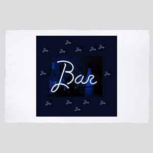 bar sign neon blue party sign 4' x 6' Rug