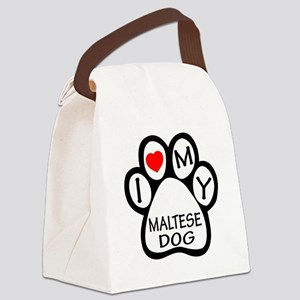 I Love My Maltese Dog Canvas Lunch Bag