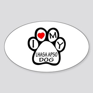 I Love My Lhasa Apso Dog Sticker (Oval)
