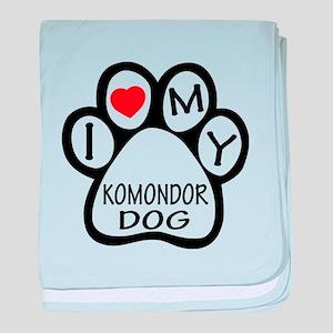 I Love My Komondor Dog baby blanket