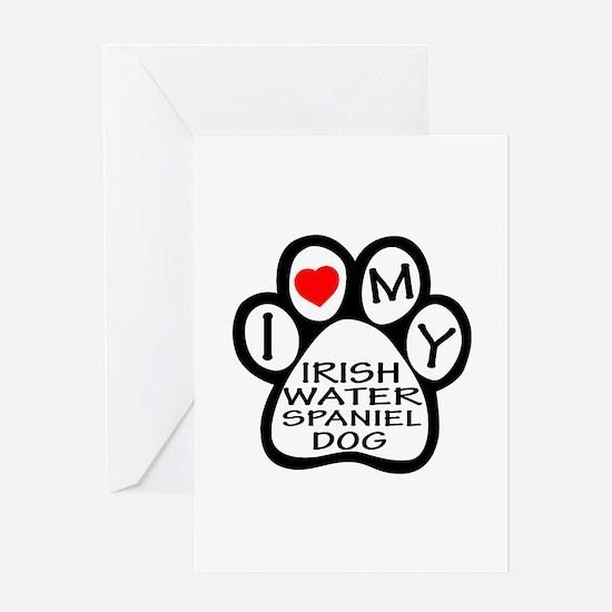 I Love My Irish Water Spaniel Dog Greeting Card