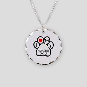 I Love My Havanese Dog Necklace Circle Charm