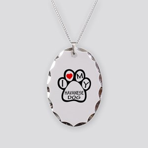 I Love My Havanese Dog Necklace Oval Charm