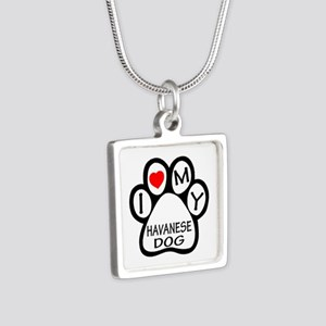 I Love My Havanese Dog Silver Square Necklace