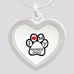 I Love My Havanese Dog Silver Heart Necklace
