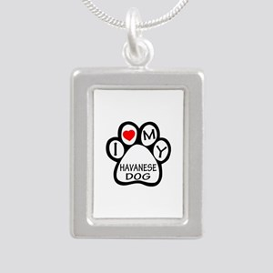 I Love My Havanese Dog Silver Portrait Necklace