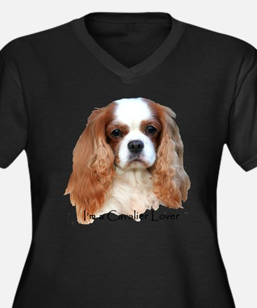 Cute King charles spaniel Women's Plus Size V-Neck Dark T-Shirt