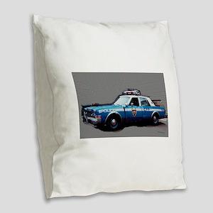 New York City Police Car 1980s Burlap Throw Pillow