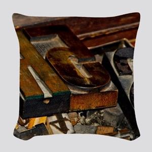 Wooden Letters Woven Throw Pillow