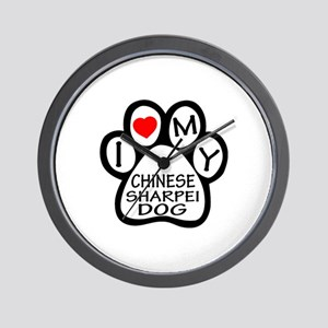 I Love My Chinese Sharpei Dog Wall Clock