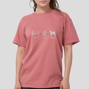 Japanese Peace, Love, Shibas Women's Dark T-Shirt