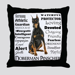 Doberman Traits Throw Pillow