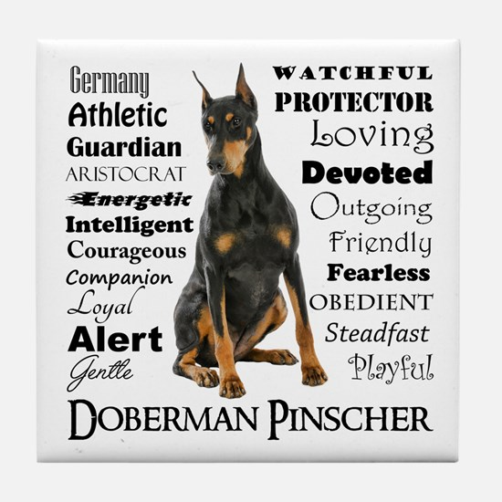Doberman Traits Tile Coaster
