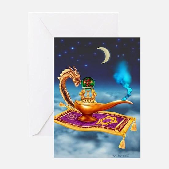 Magical Dragon Lamp Greeting Cards