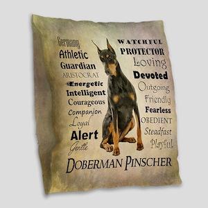 Doberman Traits Burlap Throw Pillow