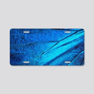 Exotic Blue Butterfly Wing Aluminum License Plate