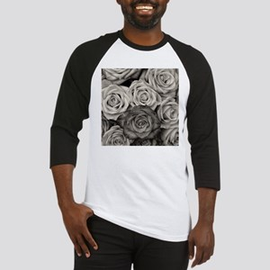 Black and White Rose Bouquet Baseball Jersey