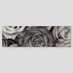 Black and White Rose Bouquet Bumper Sticker