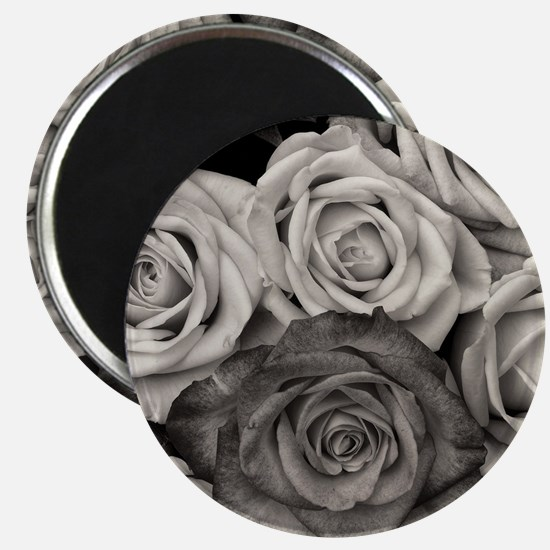 Black and White Rose Bouquet Magnets