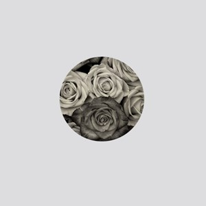 Black and White Rose Bouquet Mini Button