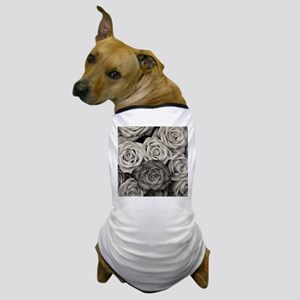 Black and White Rose Bouquet Dog T-Shirt