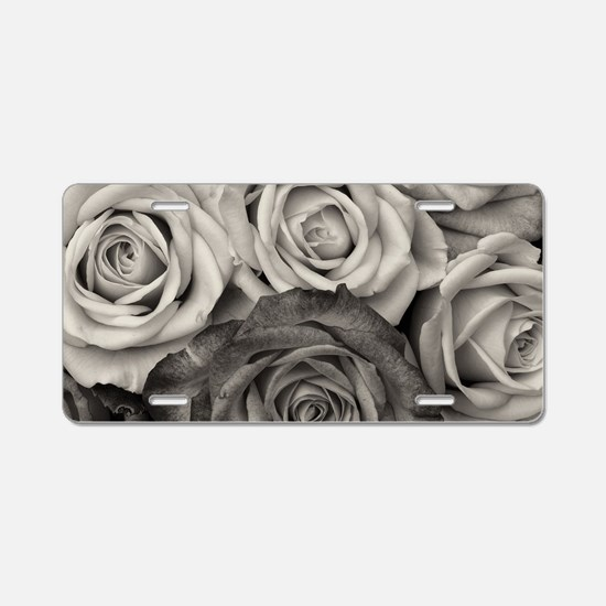 Black and White Rose Bouque Aluminum License Plate