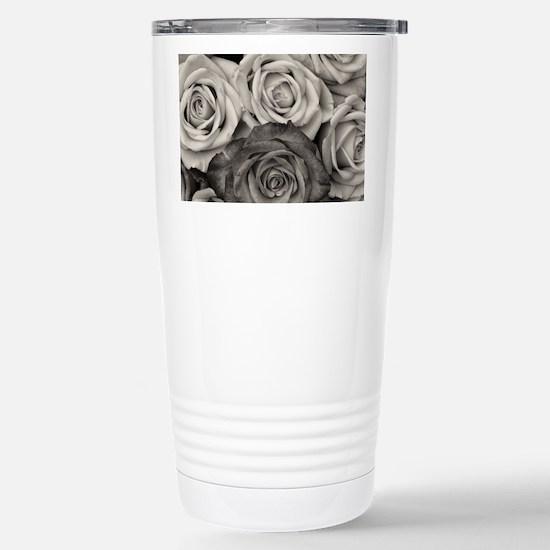 Black and White Rose Bo Stainless Steel Travel Mug