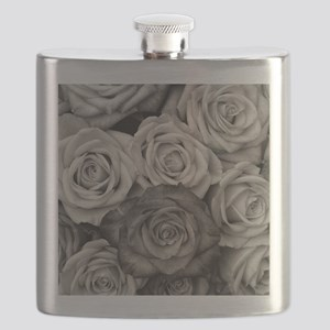 Black and White Rose Bouquet Flask