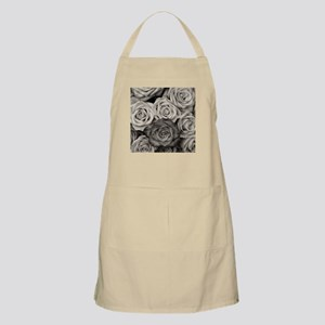 Black and White Rose Bouquet Apron