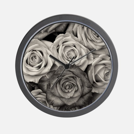 Black and White Rose Bouquet Wall Clock