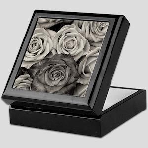 Black and White Rose Bouquet Keepsake Box
